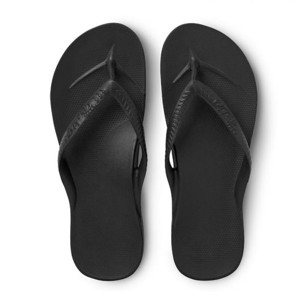 Archies thongs - black pair view from above