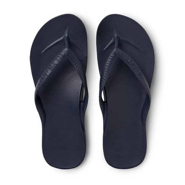 pair of archies navy arch support thongs upright view